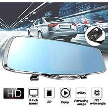 HitTime 1080P 5Inch HD Dual Lens Car DVR Rearview Mirror Video Dash Cam Camera Night Vision
