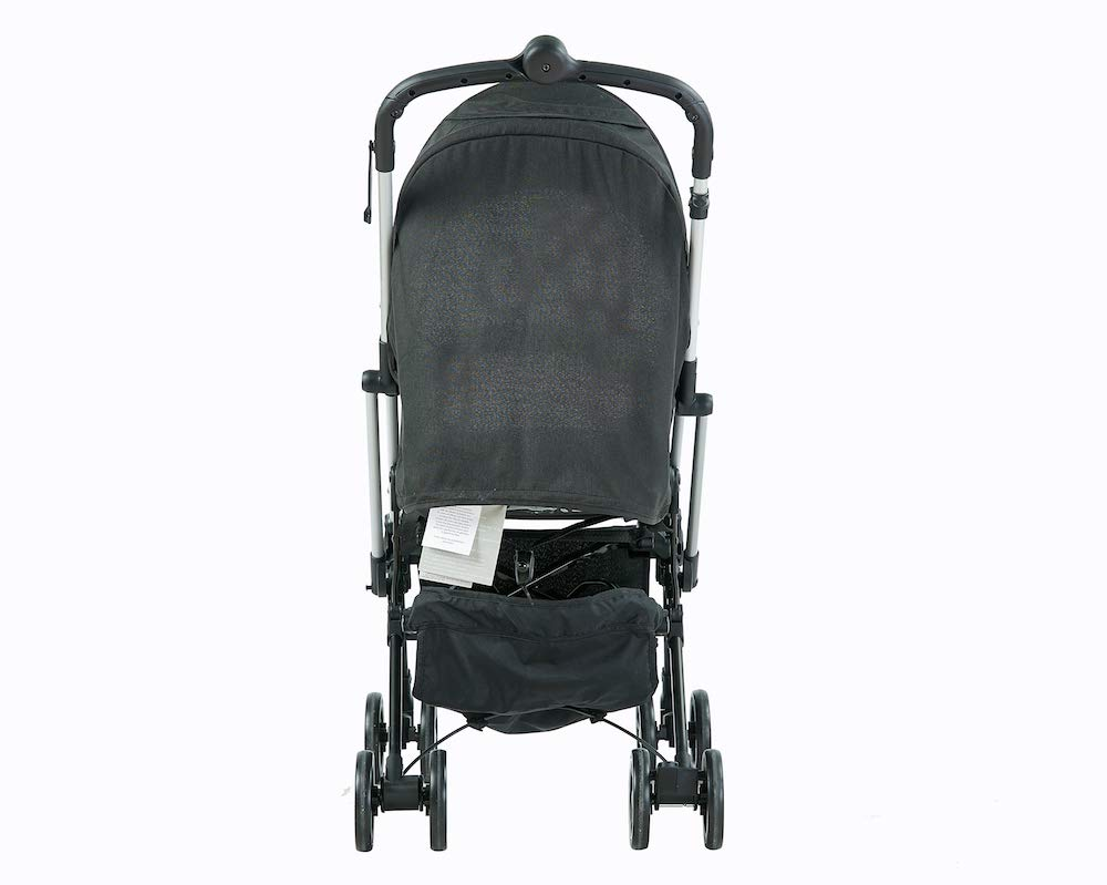 Roma Capsule² Compact Airplane Travel Buggy from Newborn Only 5.6 kgs - Black with Silver Shimmer Chassis Roma Compact lie-back stroller - suitable from newborn to 15 kgs Includes rain cover, insect net, travel bag Locked and swivel wheels, shopping basket, 3