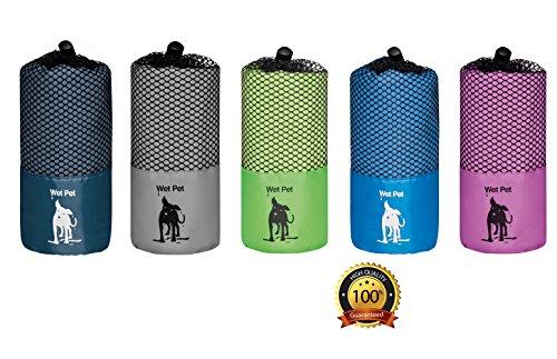 Wet Pet Großes Hundehandtuch (120x80 cm) aus Mikrofaser: schnelltrocknend, super saugfähig (Navy) -