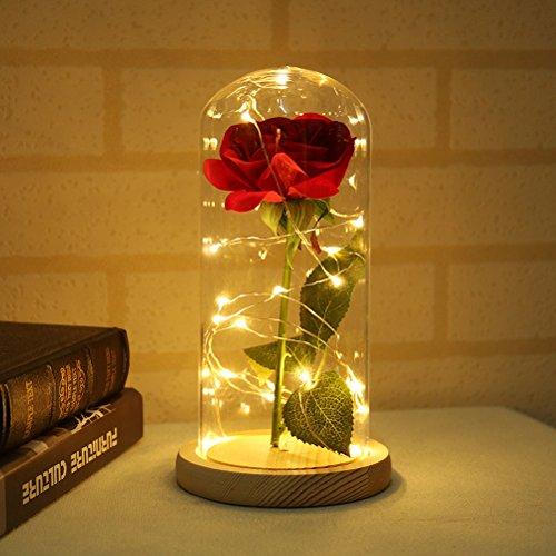 LEDMOMO Rose de Soie avec lumière LED en coupole de Verre en Base de Bois pour Le Cadeau
