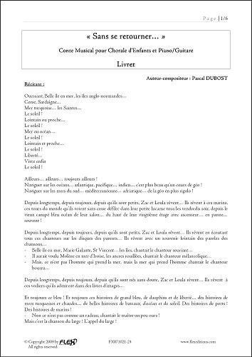 Descargar Libro PARTITURA CLASICA - Conte Sans se Retourner - P. DUBOST - Children's Choir and Piano or Guitar de Unknown