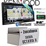 Skoda Octavia 2 1Z 2-Din Blues Stream Etc. - Autoradio Radio Kenwood DNX5180DABS - 2-Din NAVI | DAB+ | Bluetooth | CD/DVD | Apple CarPlay | Einbauzubehör - Einbauset