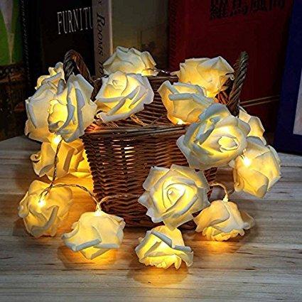 GEREE String Lights, 20 LED batteriebetriebene Rose Flower String Fairy Lights für Valentinstag, Hochzeit, Party, Indoor Dekoration, Warm White