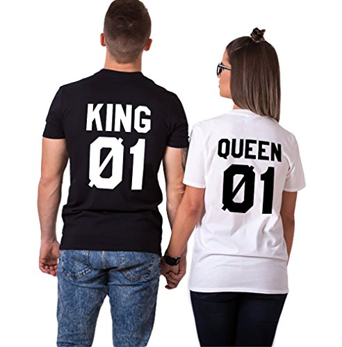 König Lustig T-shirt (Pärche Shirts Set King Queen Tshirt Paar T-Shirts Partner Look Baumwolle Lustige 2 Stücke (Schwarz+Weiß,King-XL+Queen-M))