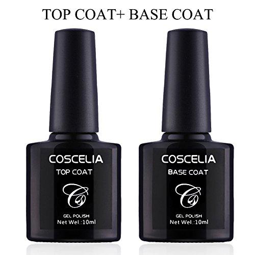 Coscelia Top Coat Base Coat Set Nagel Kunst Primer Überlack+ Unterlack(Ohne schwitzschicht trocknet)