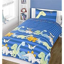 Edredón nórdico para cama, diseño de dinosaurios, color azul