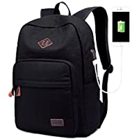 School College Backpack Bookbag Laptop Rucksack Travel Bag Casual Daypack with USB Charging Port Fits 15 Inch Laptop (Canvas Black)