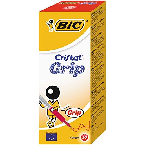 BIC Cristal Grip bolígrafos punta media (1,0 mm) - Rojo, Caja de 20 unidades