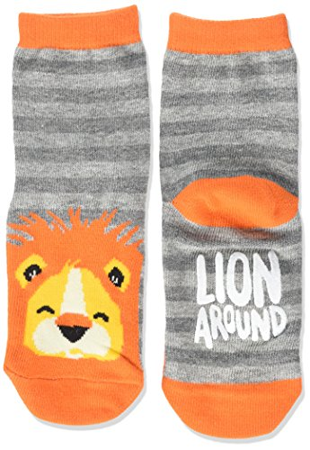 Hatley Animal Sock Calcetines, Grey (Lion Around), Small para Niños