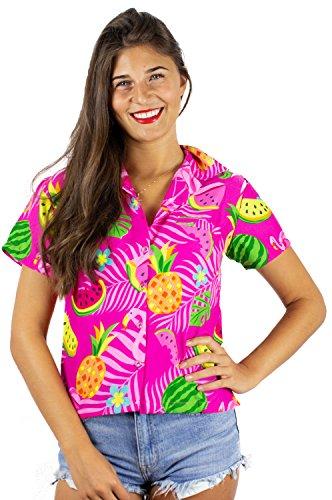 King Funky Hawaiibluse Hawaiihemd, Kurzarm, Flamingos Melonen,5XL - Brustbreite: 76 cm   Länge 88 cm,Pink