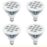 SEBSON Pflanzenlampe LED E27, 24W, 460/640nm (blau/rot), Wachstumslampe für Pflanzen und Gemüse, 4er Pack