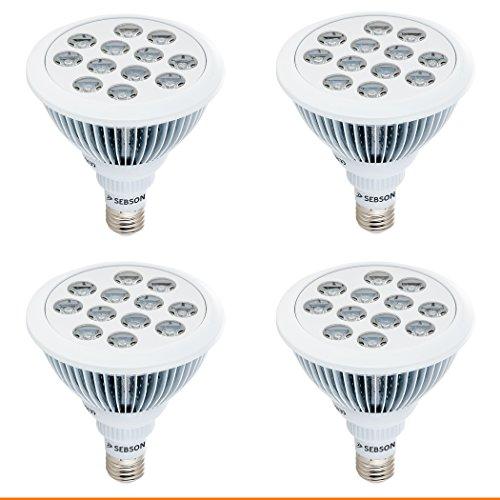 SEBSON Pflanzenlampe LED E27, 12W, 460/640nm (blau/rot), Wachstumslampe für Pflanzen und Gemüse, 4er Pack (Voll-spektrum-lampen-set)