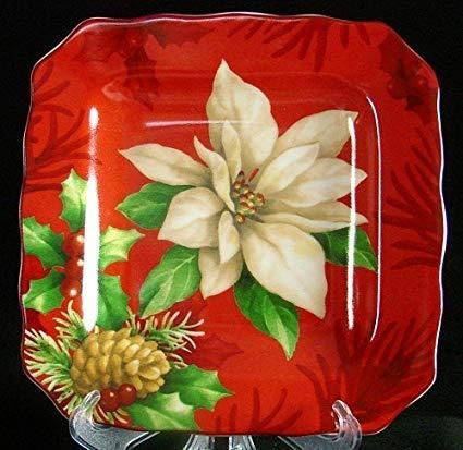 222 Fünfte 21,6 cm große Salatteller mit Weihnachtsstern, quadratisch, Rot, 4 Stück - 222 Fifth Dinnerware