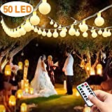 LED Lichterkette Batterie, Lichterketten für Zimmer, FishOaky 7M / 23FT 50 LED Kugel Lichterkette Warmweiß mit Fernbedienung für Party, Weihnanchten, Valentinstag, Dekoration, Indoor, Außerhalb