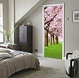 TIANTAI Schlafzimmer Tür Holztür Aufkleber Nachahmung 3D Kirschbaum Tür Aufkleber Wasserdicht Selbstklebend