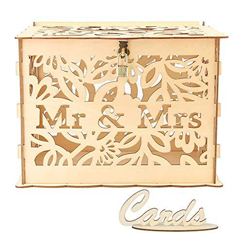 Aoewsie DIY Hochzeitskarten-Box, süßes Schnitzen, Holz, für Hochzeiten, Zubehör für Karten, Spardose, Basteln, Holz, Jm01377, 30 * 24 * 225mm
