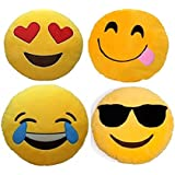 Frantic Premium Quality Heart Eyes, Hungry, Laughing Tears And Cool Dude Soft Smiley Cushion - 35 Cm Set Of 4