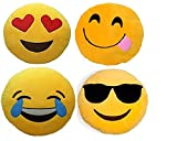#8: Frantic Premium Quality Heart Eyes, Hungry, Laughing Tears And Cool Dude Soft Smiley Cushion - 35 Cm Set Of 4