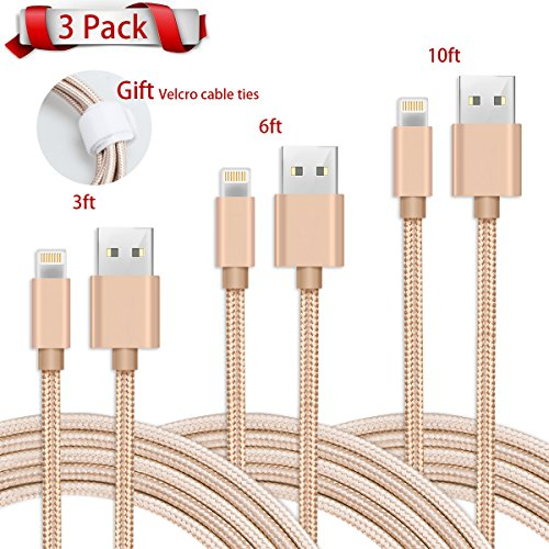 EOKIKUIF Lightning Kabel iPhone USB Ladekabel, 3 Packs 1M/2M/3M Ladegeräte Netzkabel, Nylon Schnellladekabel Datenkabel kompatibel mit iPhone,iPad 4, iPod, iPad Luft 1/2, iPad Mini 1/2/3/4 Gold Gold (Auto-adapter Ipod-mini)