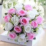 Mitlfuny Unechte Blumen, 18Head Künstliche Seidenrosen Brautjungfer Hochzeit Bunte Künstliche Hochzeitsstrauß Rosen Seidenblumen Seidenrosen Kunstblumen Blumen Brautstrauß (G)