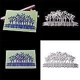 Fida Stanzformen, Baum, Zaun aus Metall, DIY Scrapbooking Prägung Papier Karten Schablone – Silber