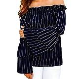 Femmes tops Longra Femmes épaule Off En vrac T-shirt (XL)