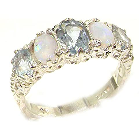Luxury Ladies Victorian Style Solid Hallmarked Sterling Silver Aquamarine & Opal Ring - Size S - Finger Sizes L to Z