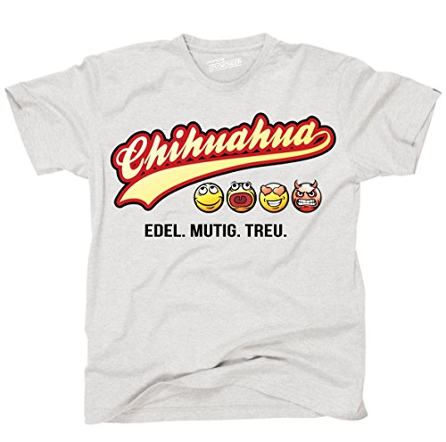 Siviwonder Unisex T-Shirt CHIHUAHUA - OLD SCHOOL SCHRIFT Hunde Ash