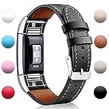 Mornex Fitbit Charge 2 Leder Armband, Unisex Ersatz Band für Fitbit Charge 2 mit Metall Connectors