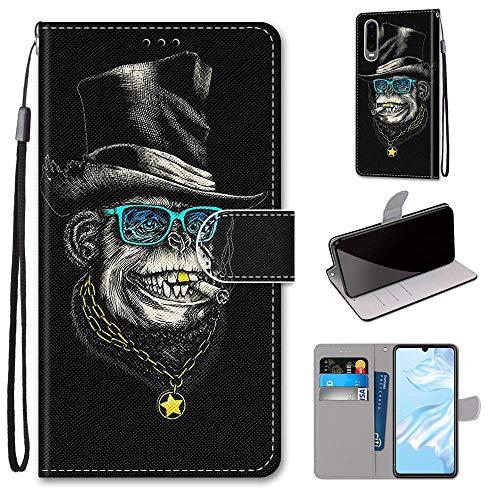 Miagon Flip PU Leder Schutzhülle für Huawei P30,Bunt Muster Hülle Brieftasche Case Cover Ständer mit Kartenfächer Trageschlaufe,Affe