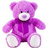 Knuffelbeer teddybeer paars met strik 50 cm hoog Pluche knuffel fluweelzacht - om van te houden