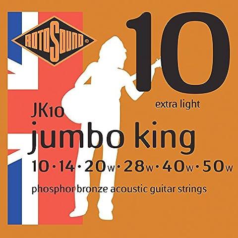Rotosound Phosphor Bronze Extra Light Gauge Acoustic Guitar Strings (10
