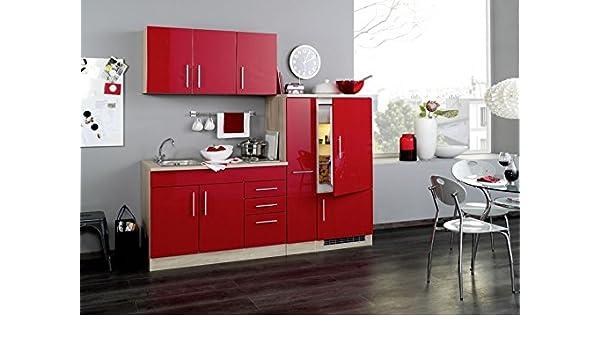 Singleküche 210 cm hochglanz rot mit geräten und spüle vancouver amazon de küche haushalt