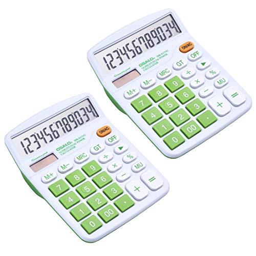 Pendancy Tischrechner, 2 Stück, 12 Ziffern, großes Display, große Tasten, Solar-Taschenrechner für Büro grün