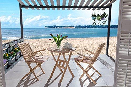 Teak-veranda-möbel (SAM® Teak Holz Balkongruppe Gartengruppe Gartenmöbel 3tlg. klappbar, 2 x Klappstuhl mit Armlehne + 1 x Tisch [53263721])