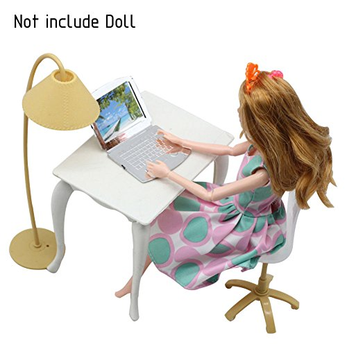 CALISTOUS Barbie Doll Play House Doll Furniture Desk Lamp Laptop Chair Accessories