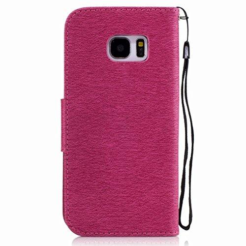 Yiizy Samsung Galaxy S7 Edge / G935 / G935F Custodia Cover, Fiore Di Farfalla Design Sottile Flip Portafoglio PU Pelle Cuoio Copertura Shell Case Slot Schede Cavalletto Stile Libro Bumper Protettivo B Red Rose