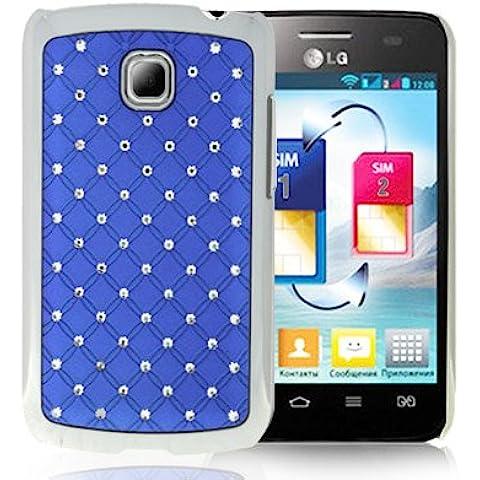 Luxury Bling Diamond Plating Skinning Funda Case Funda Para LG Optimus L3 II E340 (Blue)