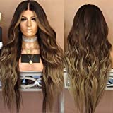 Neuf femmes dégradé Marron Cheveux longs bouclés Perruques Blond Perruque Cheveux synthétiques complète des Perruques Couleurs mélangées sexy style de cheveux pour femme fête des Perruques
