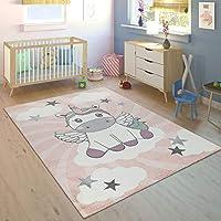 Paco Home Alfombra Habitación Infantil Niña Moderna Unicornio sobre Las Nubes En Rosa Y Lila, tamaño:80x150 cm