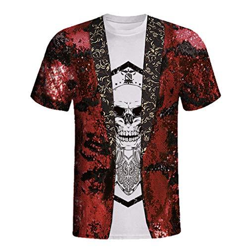 ad5f35c20 BaZhaHei Manga Corta de Hombre Moda Salvaje Camiseta de Fiesta Unisex Rude  impresión Digital Stag Party