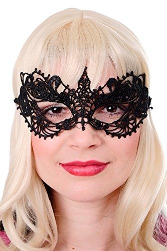een Karneval Maske Halbmaske Augenmaske schwarz Spitze Gothic Maskenball AE004A (Lächeln Maske Halloween)