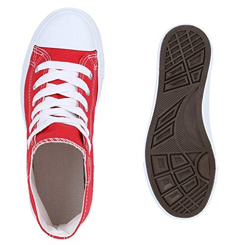 Sneakers High Damen Schuhe Canvas Turnschuhe Sportschuhe Rot