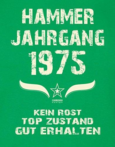 Geschenk Set : Geschenkidee 42. Geburtstag ::: Hammer Jahrgang 1975 ::: Herren T-Shirt & Urkunde Geburtstagskind des Jahres für Ihren Papa Vater ::: Farbe: schwarz Hellgrün