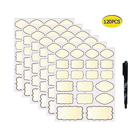 Nardo Visgo® 120-Pack Étiquettes de tableau colorées Autocollants en tailles variées pour bocaux Mason Épicerie et autres métiers, 6 feuilles