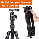 Rollei Compact Traveler No I Carbon I Nero I Treppiede da viaggio leggero I Foto treppiede I Testa a sfera I Borsa treppiede