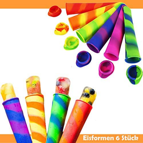 Eistüte / Eis am Stiel - aus Silikon / Plastik - für Kinder Bunt Spielzeug - mit Stiel Formen Gläser Box Pop Regal Schale Baby Ice Eis Maker Behälter Stieleis Pops Wassereis Silikonform Förmchen DIY Saft (Eistüte)