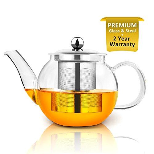 Théière, Théière en verre de 750 ml avec infuseur par Raypard cuisinière, micro-ondes et lave-vaisselle, passoire à thé pour thé en vrac et Blooming Thé