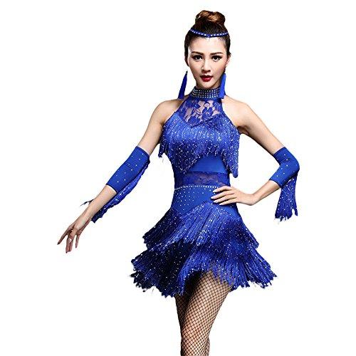 ZooBoo Damen Latein Tanz Kleider - Modern Dance Latin Party Gesellschaftstänze Dekoration Zubehör Pailletten Quasten Tanzkleid Trikot Rock Kostüm Bekleidung für Frauen (Königsblau, M)