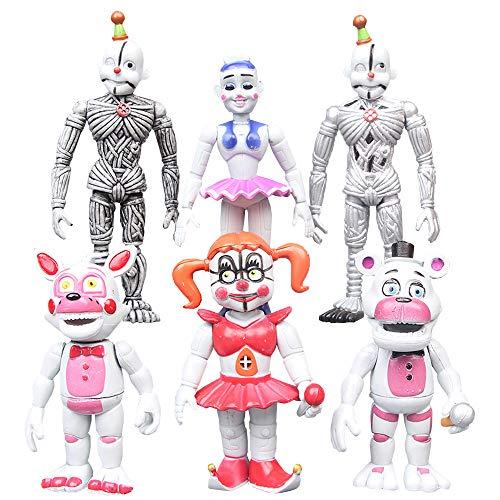 Dondonmin Anime Cartoon Muñecos Five Nights at Freddy'S Figura de Acción Juguetes Juego Personajes Muñecas Regalo 6 Unids / Set